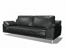 Black leather loveseat 3d preview