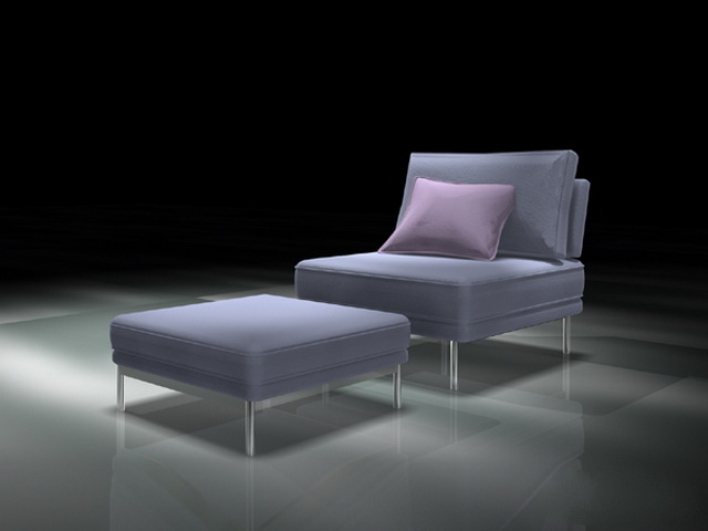Modern accent chair with ottoman 3d rendering