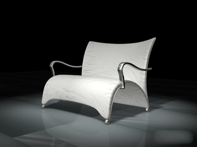 Arched white leather chair 3d rendering