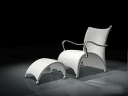 White leisure chair with ottoman 3d preview