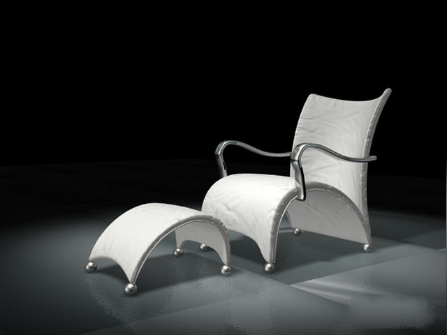 White leisure chair with ottoman 3d rendering