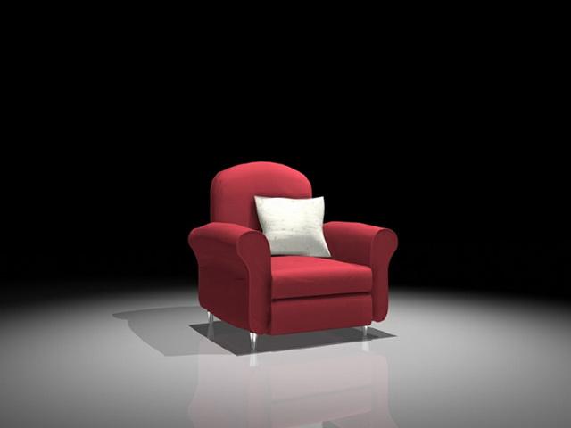 Red microfiber chair 3d rendering