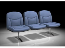 Blue waiting room chairs 3d preview
