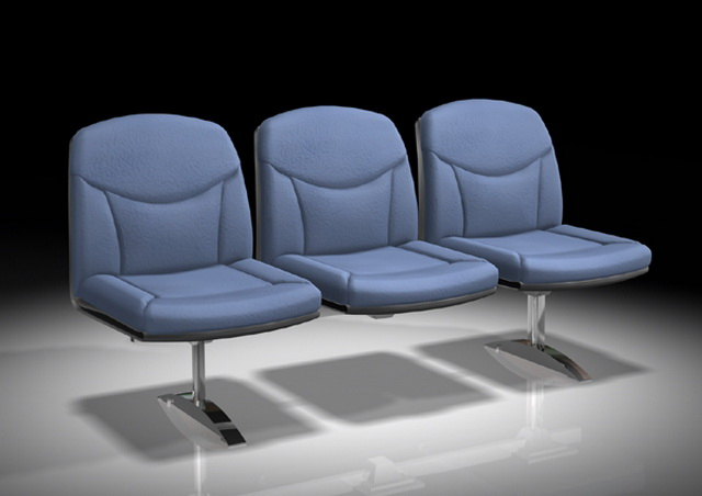 Blue waiting room chairs 3d rendering