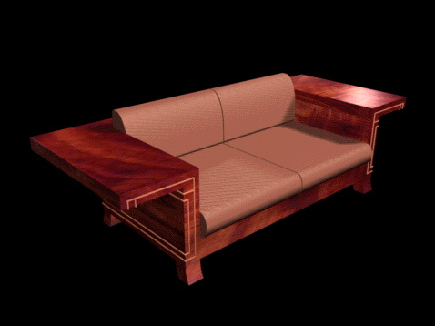 Country loveseat with attached table 3d rendering