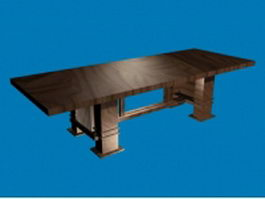 Rustic wood dining table 3d preview
