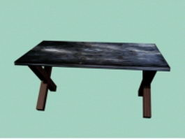 Vintage wood table 3d preview