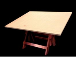 Folding dining table 3d model preview
