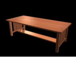 Mission style dining table 3d model preview