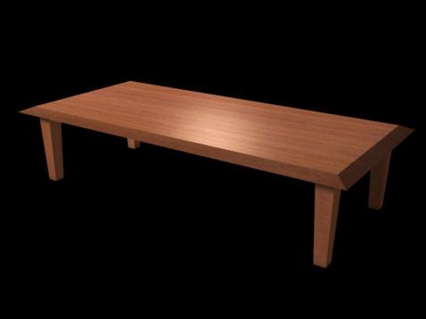 Rustic wood dining room table 3d rendering