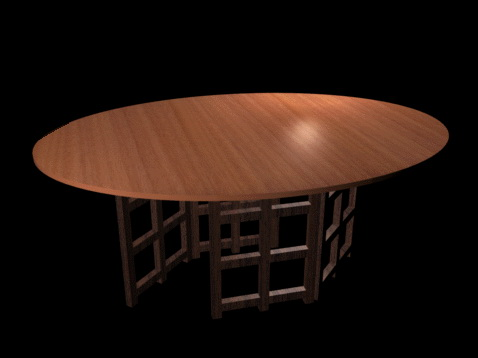 Oval dining table 3d rendering