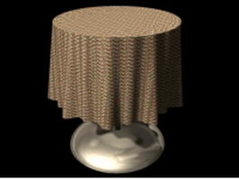 Metal table with cloth 3d preview