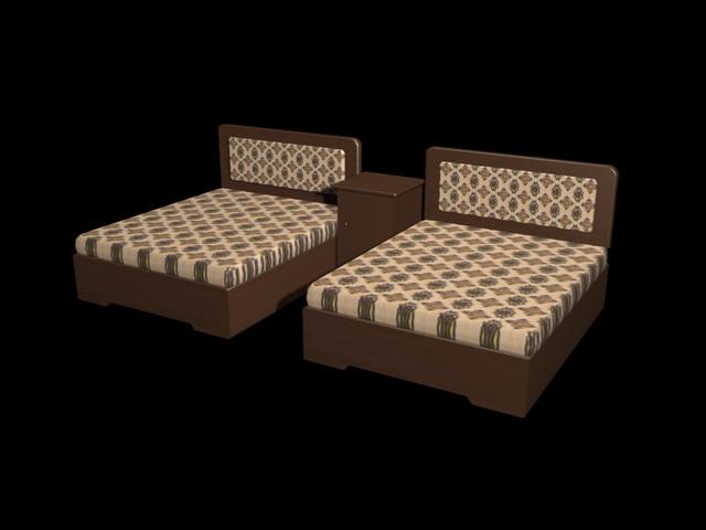 Hotel twin beds 3d rendering