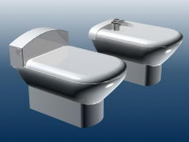 Bidet and toilet 3d preview