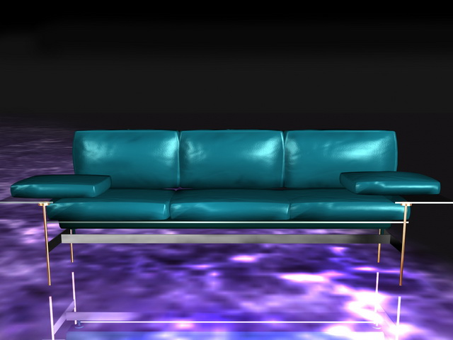 Blue leather settee 3d rendering