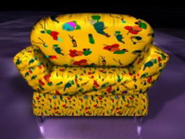 Yellow sofa chair 3d preview