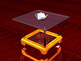 Antique glass end table 3d preview