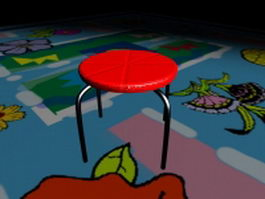 Red round stool 3d preview