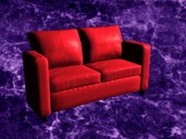 Red reclining loveseat 3d preview