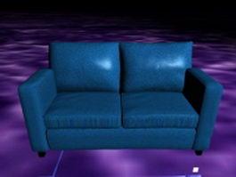 Blue reclining loveseat 3d preview
