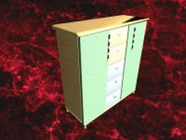 Modern chest of drawers furniture 3d model preview