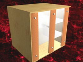 Wood storage cabinet 3d preview