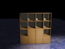 Office storage wall units 3d model preview