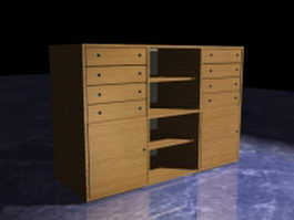 Wood storage cabinets 3d preview