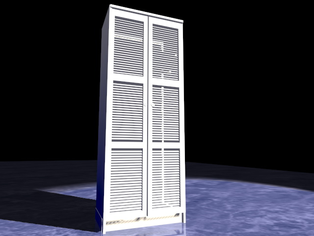 White tall bookcase 3d rendering