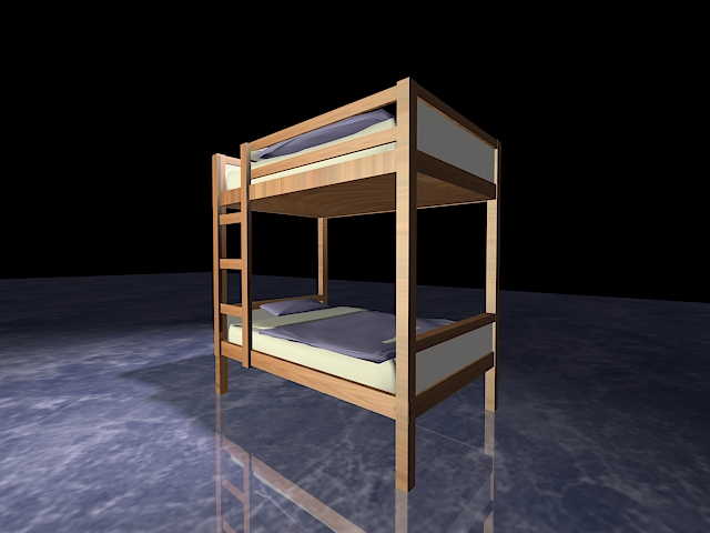 Wood bunk beds with stairs 3d rendering