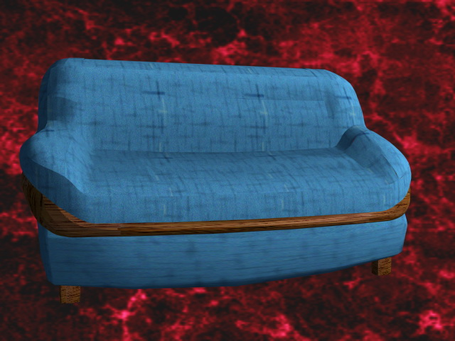 Blue sofa and loveseat 3d rendering