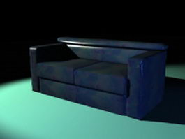Blue leather loveseat 3d preview