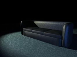 Black leather sofa 3d preview