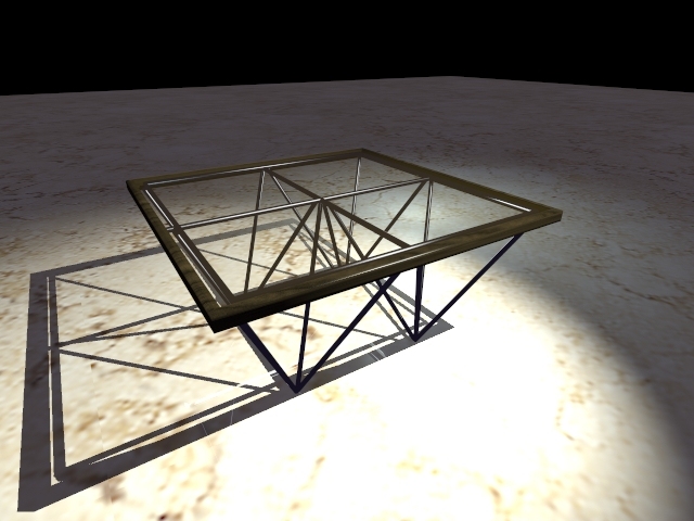 Glass and metal coffee table 3d rendering