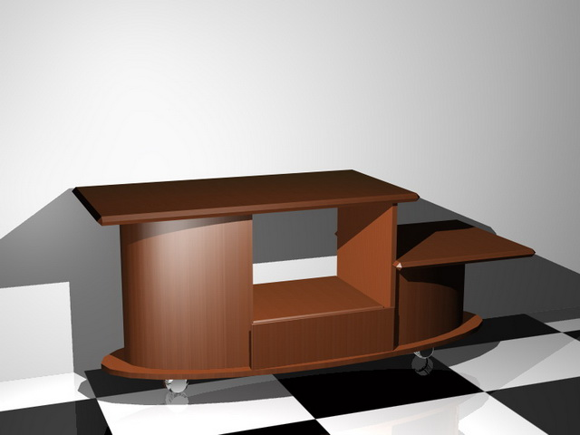 Wood Tv stand 3d rendering