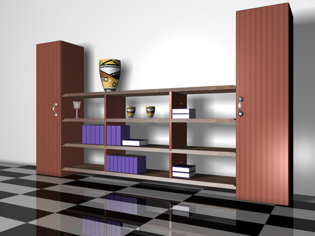 Built in bookcase wall units 3d rendering