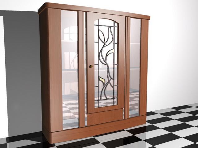 Cherry wood display cabinet 3d rendering