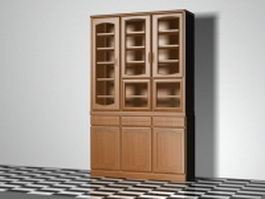 Bookcase with doors 3d preview