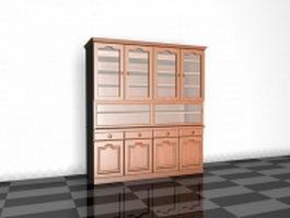 Vintage bookcase 3d preview