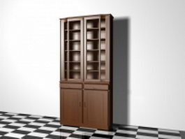 Wood bookcase 3d preview
