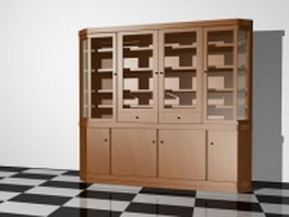 Large bookcase for living room 3d preview