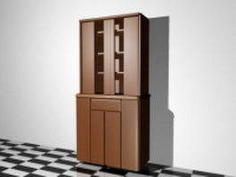 Bookcase with door 3d preview