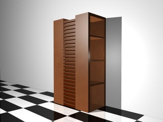 Wooden bookshelf 3d rendering