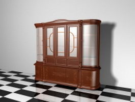 Antique display cabinet 3d preview