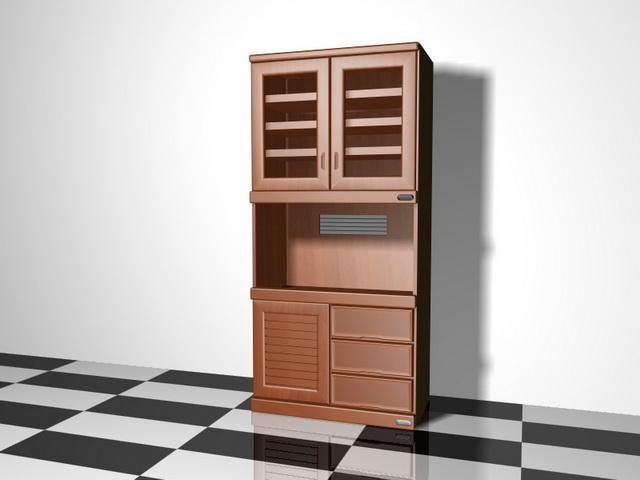 Vintage hutch cabinet 3d rendering