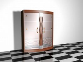 Wine cabinet with glass door 3d preview