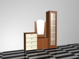 Storage cabinet with mirror 3d preview