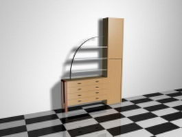 Storage cabinet with glass shelves 3d preview