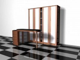 Home bar cabinet with counter 3d preview