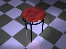 Metal dining stool 3d preview
